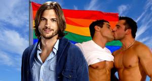 Ashton Kutcher Encourage les Gars à Explorer leur Sexualité en Embrassant un Autre Homme ashton kutcher kiss dudes 300x160